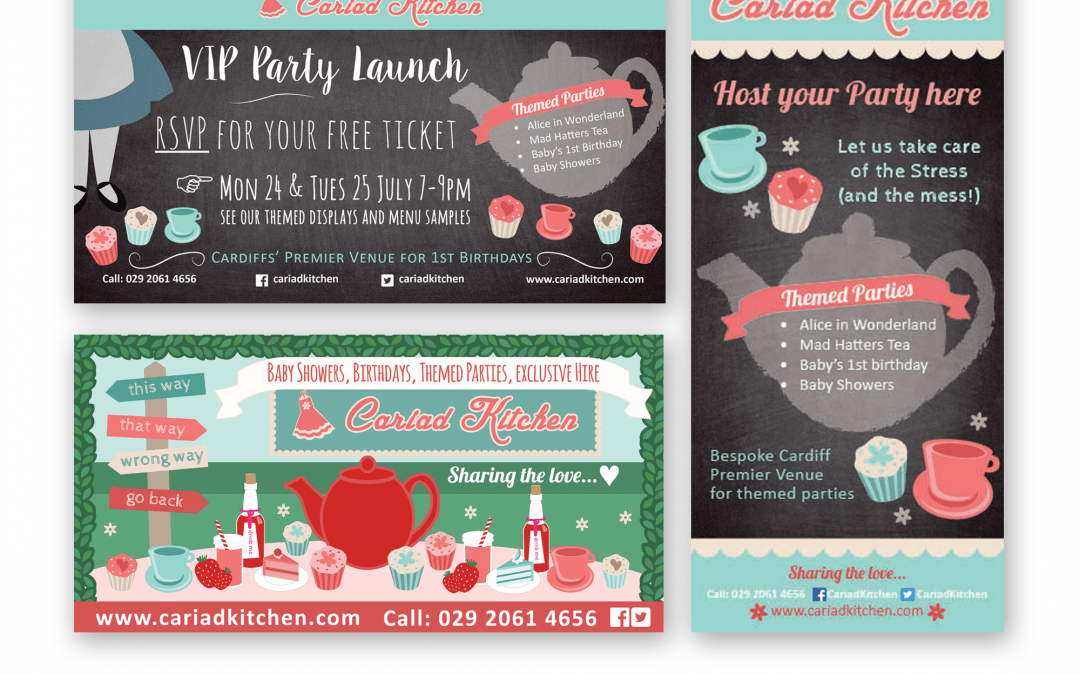 Banner, menu adverts, social media – Cariad Kitchen